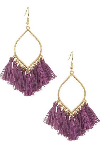 Tassel drop earrings lavender teardrop