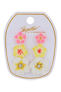 Tropical flower earring set