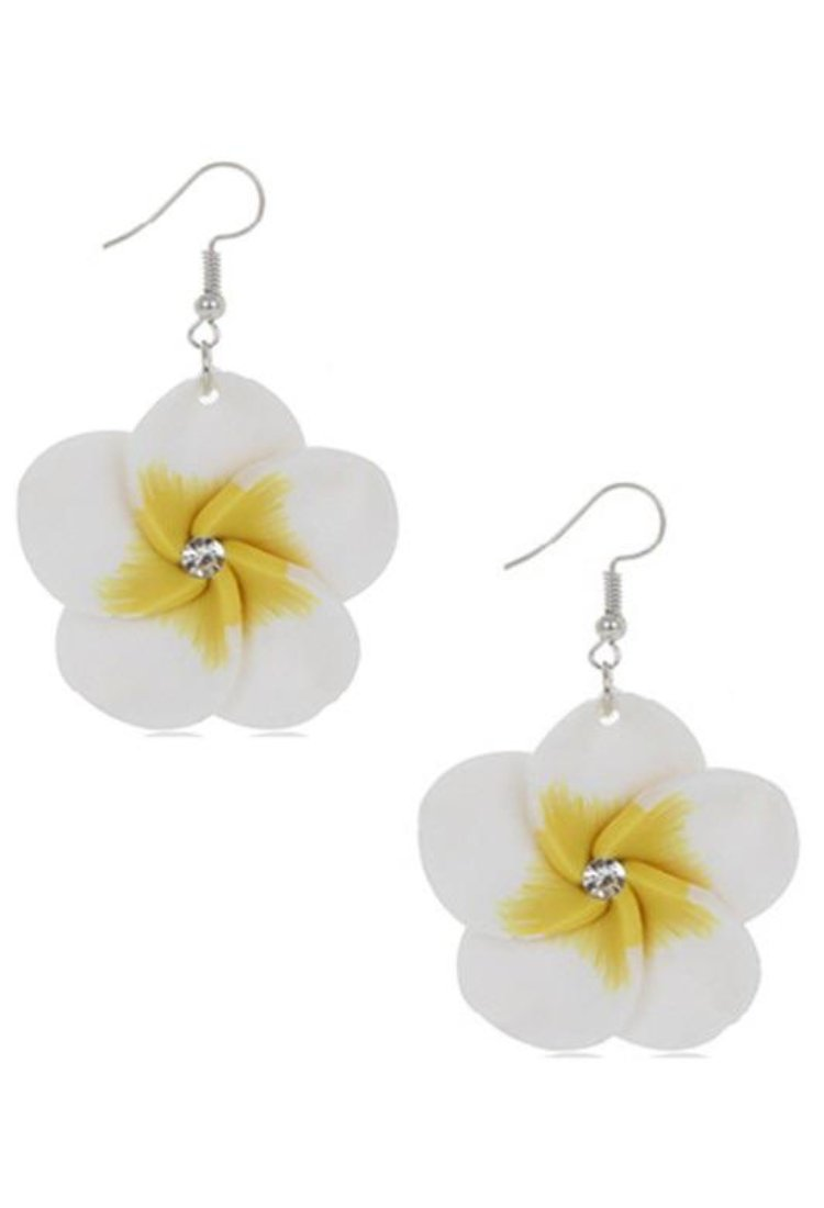 tropical flower drop earrings