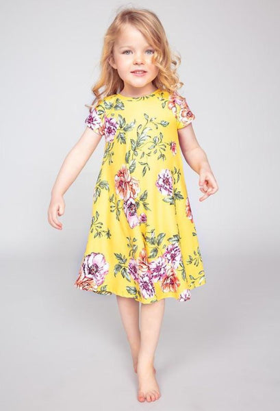 girls yellow floral dress