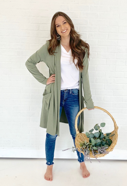 Caraway Duster Cardigan Olive