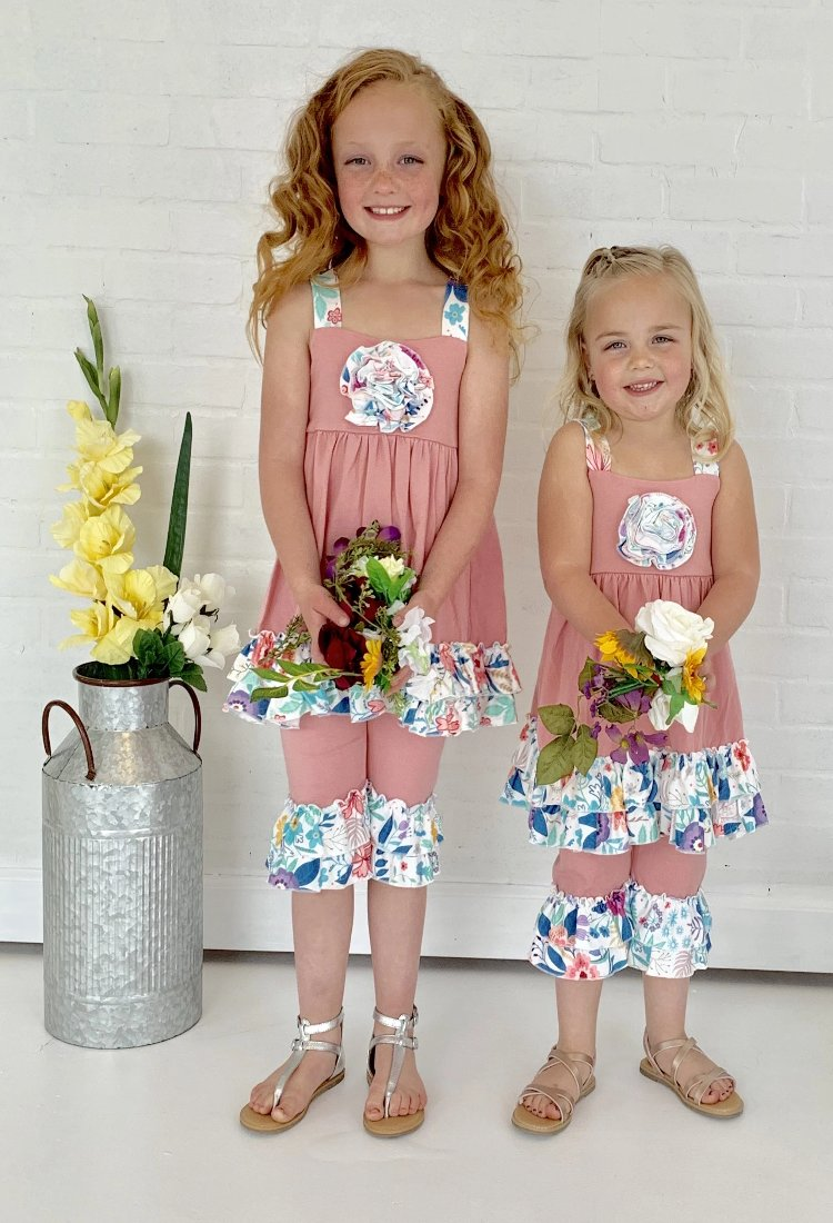 Girls Floral Ruffle Set