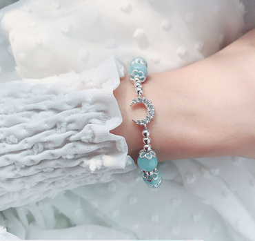 Aquamarine Bracelet with Crescent Moon in Sterling Silver March Birthstone - StarryStone