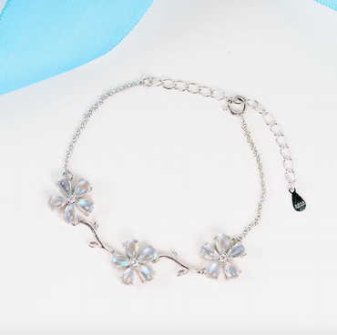 """Peach Blossom"" Moonstone Bracelet in Sterling Silver 5ct June Birthstone - StarryStone"