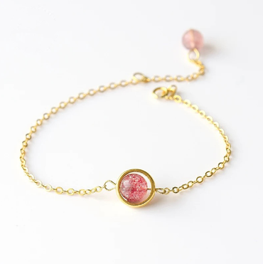 Strawberry Quartz (Red Fire Quartz) Bracelet in Silver / 14K Gold Plated September/October Birthstone - StarryStone