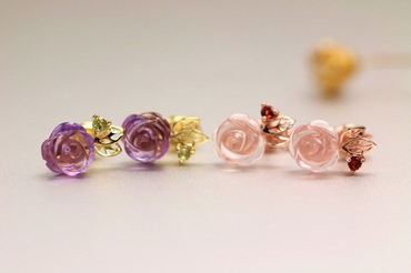 Amethyst 'Rose' Earrings in 925 Sterling Silver Rose Gold Plated February Birthstone - StarryStone