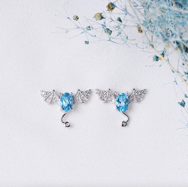 Blue Topaz Earrings Little Devil Shaped in Sterling Silver December Birthstone - StarryStone