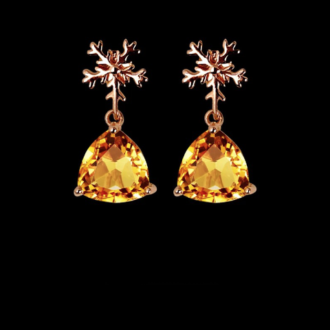 Citrine Snow Flake Earrings in Sterling Silver / Rose Gold Plated November Birthstone - StarryStone