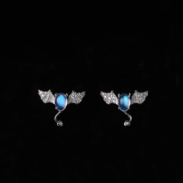 Moonstone Earrings Little Devil Shaped in Sterling Silver 0.5 ct June Birthstone - StarryStone