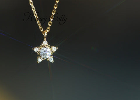 Diamond Lucky Star Necklace in 18K Gold 0.105 ct April Birthstone - StarryStone