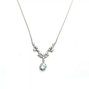 Elegant Blue Topaz Necklace in 925 Sterling Silver 14K Gold Plated December Birthstone - StarryStone