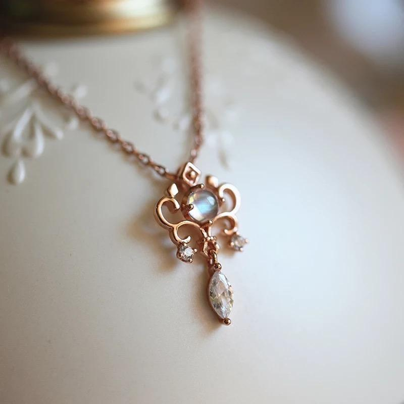 Moonstone Iris Necklace in 925 Sterling Silver Rose Gold Plated June Birthstone - StarryStone