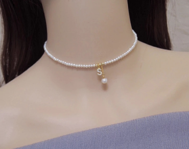 Pearl Alphabet Choker Necklace 14K Gold Plated June Birthstone - StarryStone