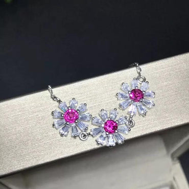 Pink Tourmaline Necklace Daisy shaped in 925 Sterling Silver October Birthstone - StarryStone