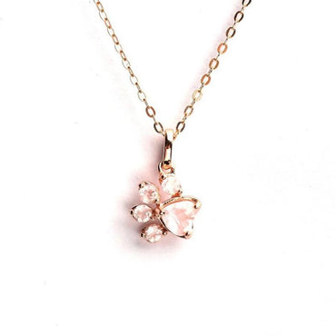 Rose Quartz Cat's Paw Necklace in Sterling Silver Rose Gold Plated January Birthstone - StarryStone