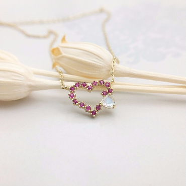 Ruby Heart-shaped Necklace with Moonstone in Sterling Silver 10K Gold Plated July Birthstone - StarryStone