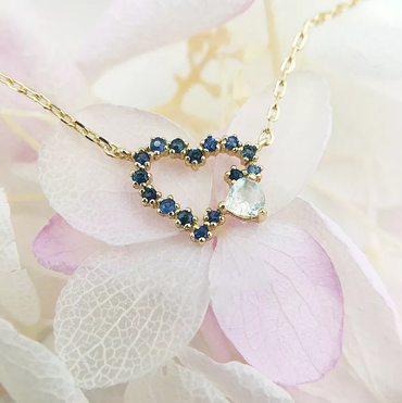 Sapphire with Moonstone Heart-shaped Necklace in Sterling Silver 10K Gold Plated September Birthstone - StarryStone
