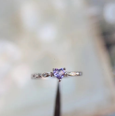 Amethyst Adjustable Heart-shaped Ring February Birthstone - StarryStone