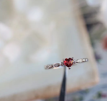 Garnet Adjustable Ring Heart shaped in Silver Plated January Birthstone - StarryStone