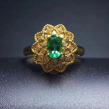 Halo Emerald Ring in Sterling Silver Gold Plated May Birthstone - StarryStone
