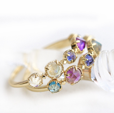 Multiple Gemstones (Topaz, Moonstone, Amethyst, Cordierite) Ring in 925 Sterling Silver Gold Plated - StarryStone
