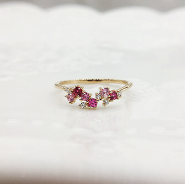 Pink Spinel Ring in Sterling Silver 14K Gold Plated August Birthstone - StarryStone