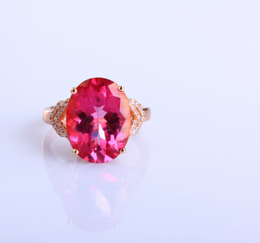Pink Topaz Ring in Sterling Silver 18K Rose Gold / Platinum Plated December Birthstone - StarryStone