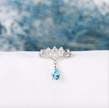 """Princess"" Blue Topaz Ring Crown shaped Adjustable in Sterling Silver December Birthstone - StarryStone"