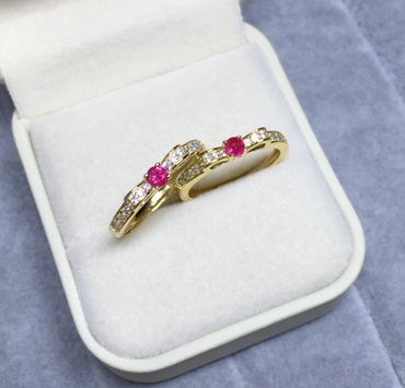 Ruby Ribbon Ring in Sterling Silver 18K Gold 0.09ct July Birthstone - StarryStone