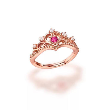 Victorian Pink Tourmaline Crown Ring in 18K Rose Gold Plated October Birthstone - StarryStone