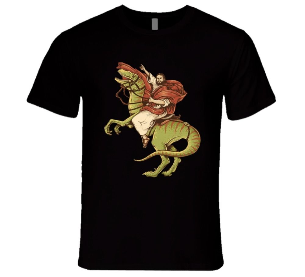 Jesus Riding A Velociraptor Freedom T Shirt