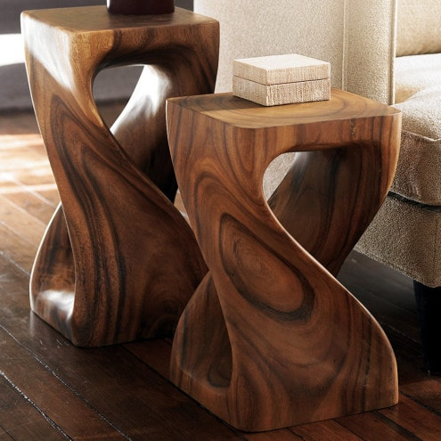Walnut Twist End Table or Stool
