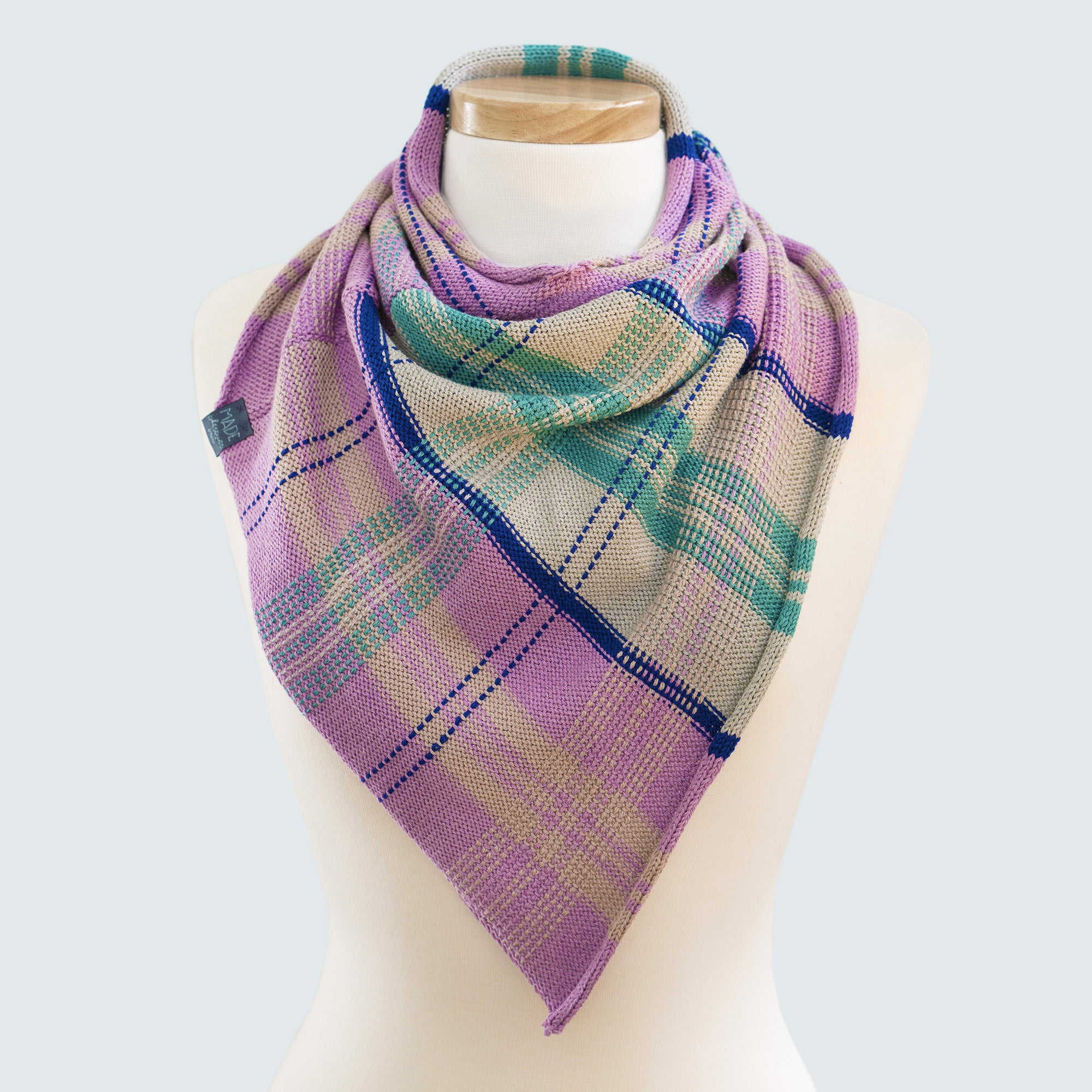Spring bandana cowl scarf in wool cotton blend with tartan design in purple, grey, blue and green