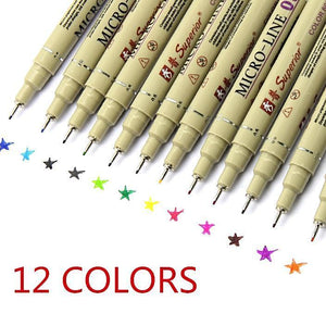 Micro Line 12-Color waterproof .45mm thin animation drawing pen set  by Superior