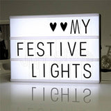 Cinematic Light Box A4 Mini Cinema Plaque LED Letter Lamp Symbols Sign Messages Board for Party Wedding social media photography decor Home Decoration DIY Gift