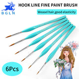 6Pcs Hook Line Pen Fine Watercolor Paint Brush For Drawing Art Gouache Oil Painting Brush weasel hair Art Supplies by BGLN
