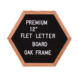 "12"" Felt Letter Board Unique Hexagon Sign Message Home Office Decor Board Oak Frame Bulletin Board Sawtooth Wall Mount Hook"