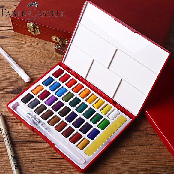 Faber-Castell 24/36/48 Piece Solid Watercolor Paint Box With Waterbrush Bright Color Portable Watercolor Pigment Set Art Supplies