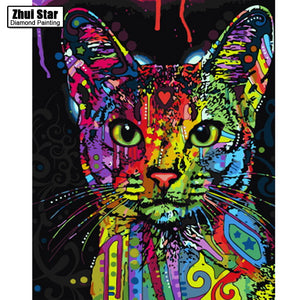 DIY diamond embroidery oil painting by number paint by number for home decor canvas painting 5D diamond mosaic Graffiti Kitty