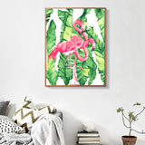 Pink Flamingo Coloring by Numbers Canvas Oil Painting Crafts Decorative Pictures Hand Painted Acrylic Paint