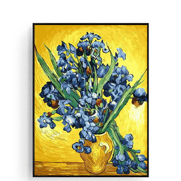 Famous Oil Painting Irises 16X20 inch DIY Oil Painting By Numbers Home Decor Digital Painting Van Gogh