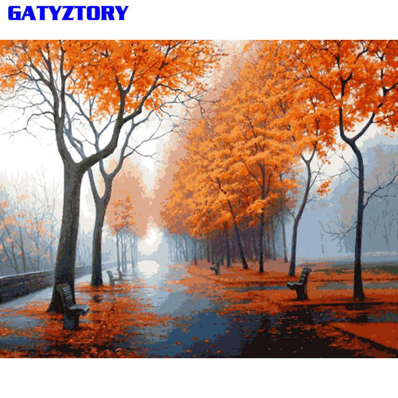 DIY Painting By Numbers Forest Landscape Picture Wall Art Canvas Painting Unique Gift For Living Room Artwork 40x50cm