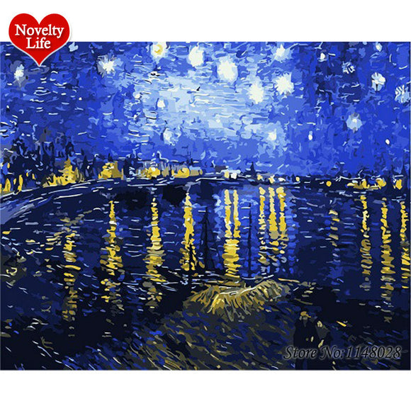 FAMOUS Christmas Birthday DIY Digital Oil Painting By Numbers Van Gogh  Starry Sky Rhone River