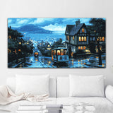 City Night scenery Canvas paintings by numbers kit LARGE home decoration oil painting water pictures 50x100cm wall art