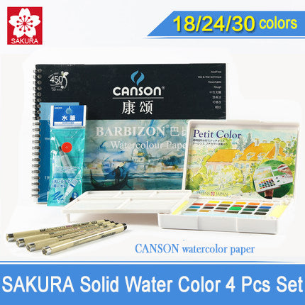 Paint Set Solid Water Color Paint 18/24/30 Colors Sets, Solid Water Color+Needle Pen+Water Brush+Watercolor Paper,Sketch Color by SAKURA
