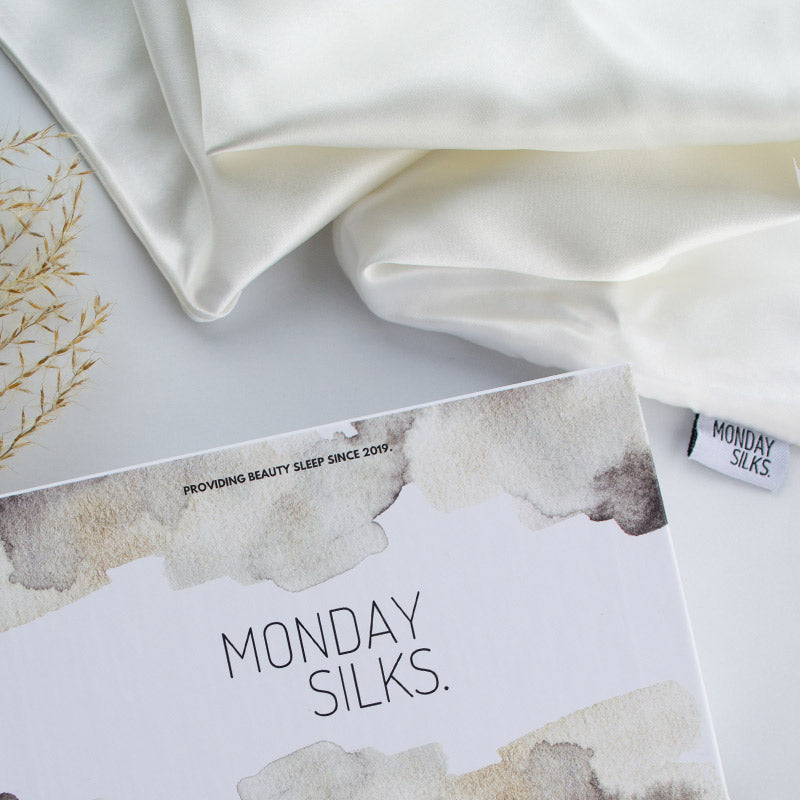 Off White silk pillowcase comes in a Monday Silks luxury gift box