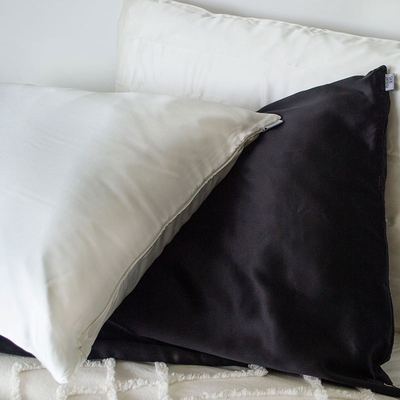 2 Black Silk Pillowcase - Std