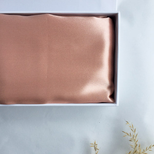 Rose Gold Silk Pillowcase by Monday Silks