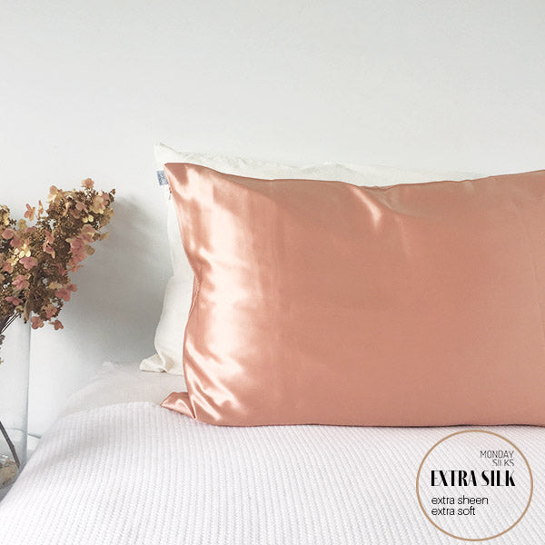 Silk Pillowcase by Monday Silks in Rose Gold colour