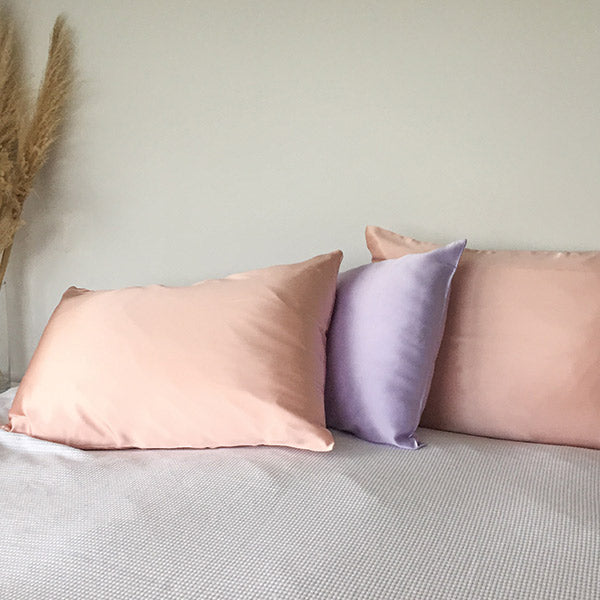 monday silks lilac silk pillowcase on king bed